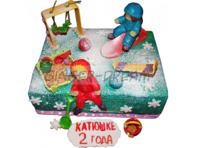 Детский торт «Зимняя детская площадка»